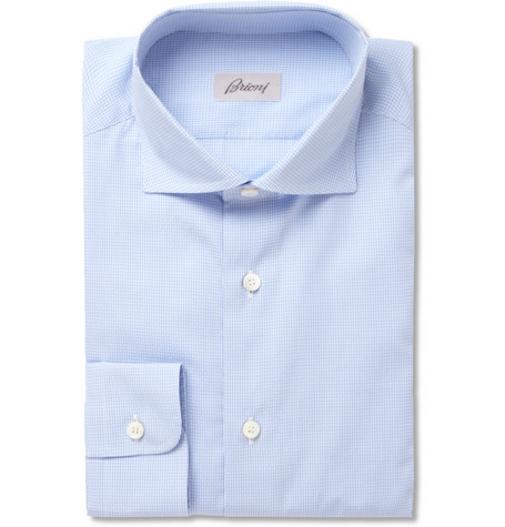 Brioni Slim-Fit Blue Gingham Check Cotton Shirt