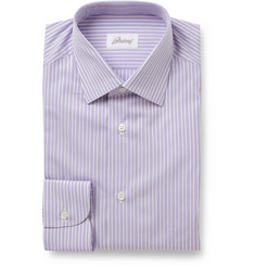 Brioni Purple Striped Cotton Shirt