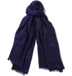 Brioni Houndstooth Cashmere and Silk-Blend Scarf