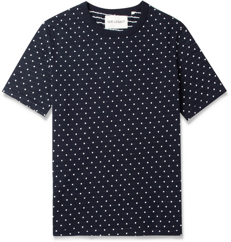 Our Legacy Woven-Dot Cotton-Jersey T-Shirt
