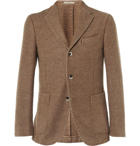 Boglioli Coat Slim-Fit Unstructured Herringbone Wool-Blend Blazer