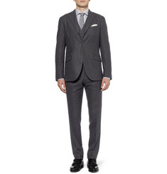 Boglioli Chalk-Striped Wool-Flannel Three Piece Suit