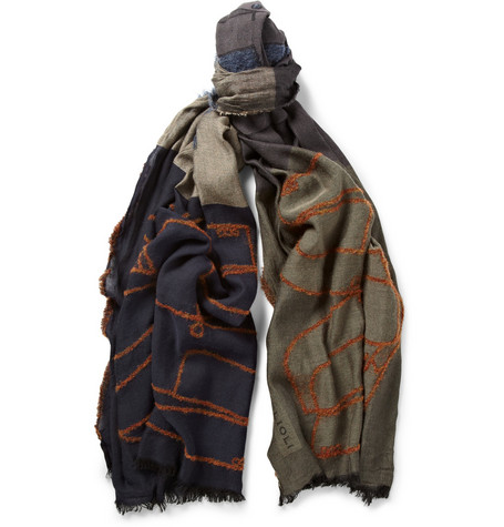 Boglioli Jacket-patterned Woven Scarf