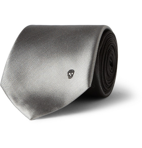 Alexander McQueen Embroidered Ombre Silk-Satin Tie