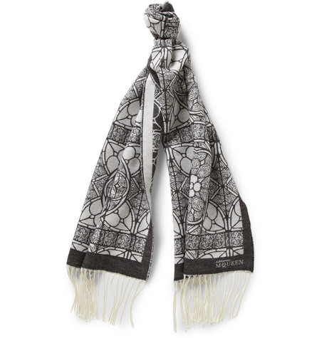 Alexander McQueen Patterned Wool And Silk-Blend Scarf