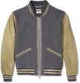 Gant Rugger Leather-Sleeved Wool-Blend Bomber Jacket