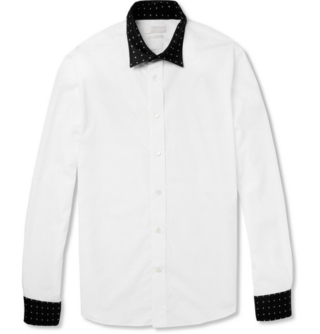 Alexander McQueen Contrast-Collar Cotton Shirt