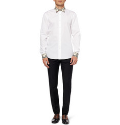 Alexander McQueen Slim-Fit Contrast-Collar Cotton Shirt