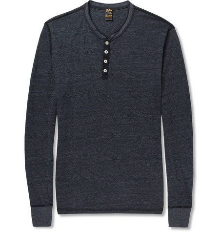 Jean Shop Long-Sleeved Cotton-Jersey Henley T-Shirt