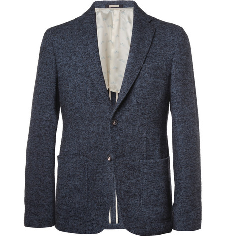 Massimo Alba Slim-Fit Unstructured Herringbone Wool-Blend Blazer