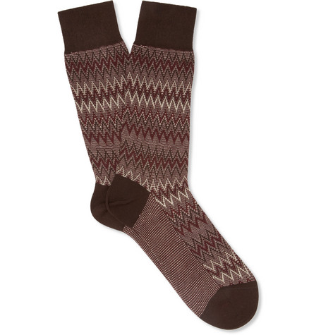 Missoni Patterned-Knit Wool and Cotton-Blend Socks