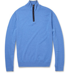 Faconnable Suede-Trimmed Zipped Cashmere Sweater