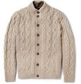 Faconnable Cable Knit Cardigan with Detachable Quilted Lining