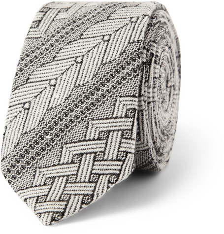Marwood Patterned Wool and Silk-Blend Tie