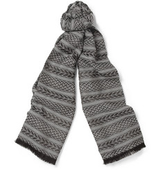 Marwood Patterned Wool and Silk-Blend Scarf