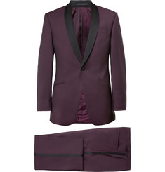 Richard James Burgundy Wool And Mohair-Blend Tuxedo