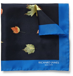 Richard James Leaf-Print Silk Pocket Square