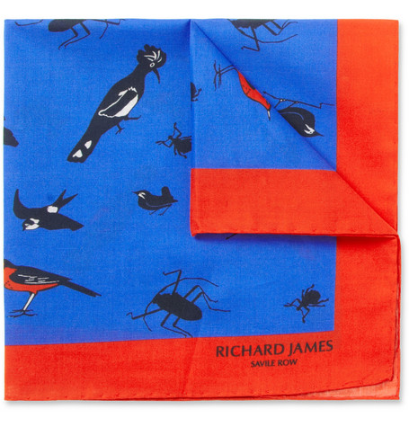 Richard James Animal-Print Cotton Pocket Square