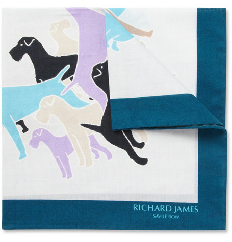 Richard James Dog-Print Cotton Pocket Square