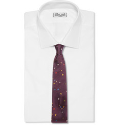 Richard James Leaf-Patterned Woven-Silk Tie