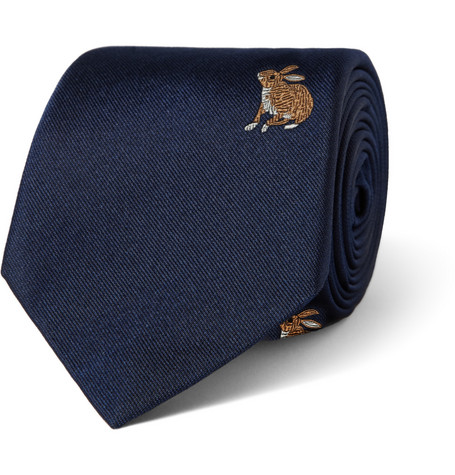 Richard James Rabbit-Embroidered Silk Tie