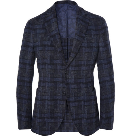 Slowear Montedoro Slim-Fit Unstructured Patterned Wool Blazer