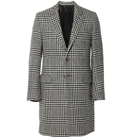 AMI Slim-Fit Prince Of Wales Check Wool Coat