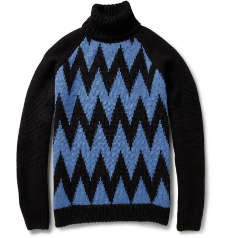 AMI Chevron-Intarsia Alpaca And Wool-Blend Rollneck Sweater