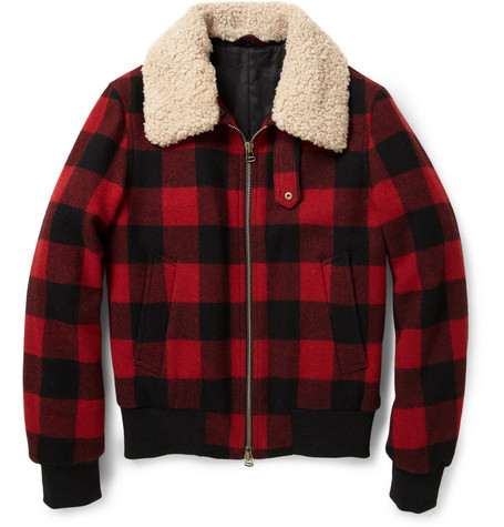 AMI Shearling-Trimmed Check Wool Bomber Jacket