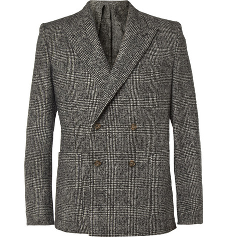 AMI Slim-Fit Prince of Wales Check Wool-Blend Blazer