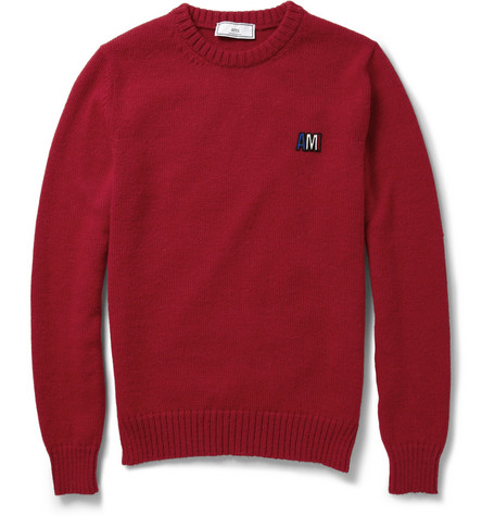 AMI Alpaca And Merino Wool-Blend Crew Neck Sweater