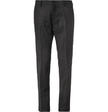 AMI Slim-Fit Check Wool-Blend Trousers