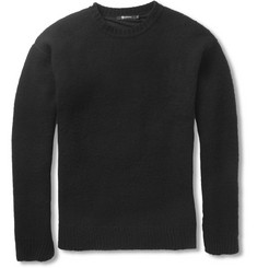 Alexander Wang Jersey-Lined Brushed-Wool Sweater
