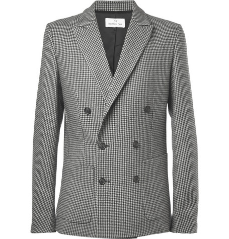 Hentsch Man Slim-Fit Unstructured Houndstooth Wool Blazer