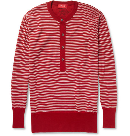 John Smedley Striped Merino Wool Henley Sweater