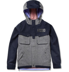 White Mountaineering Patterned Wool-Blend and Canvas Hooded Jacket