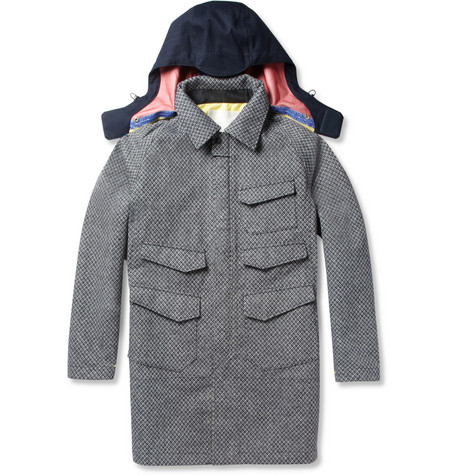 White Mountaineering Patterned Wool-Blend and Canvas Hooded Coat