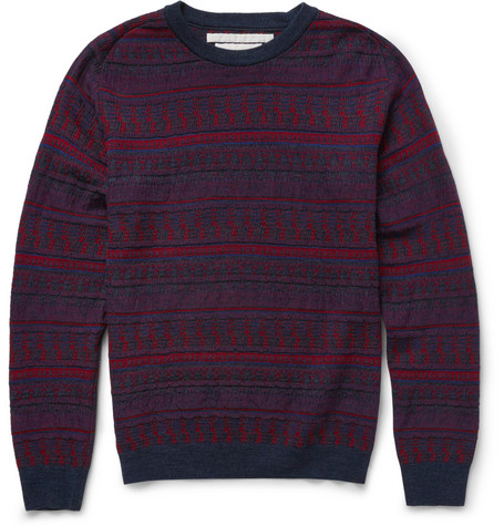 White Mountaineering Patterned Knitted Wool Sweater