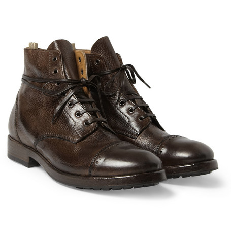 Officine Creative Full-Grain Leather Brogue Boots