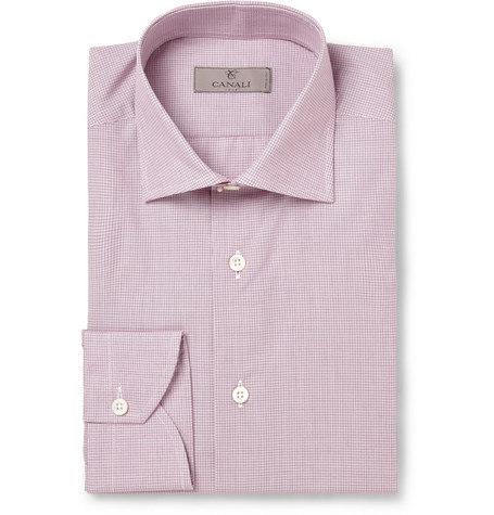Canali Red Slim-Fit Check Cotton Shirt