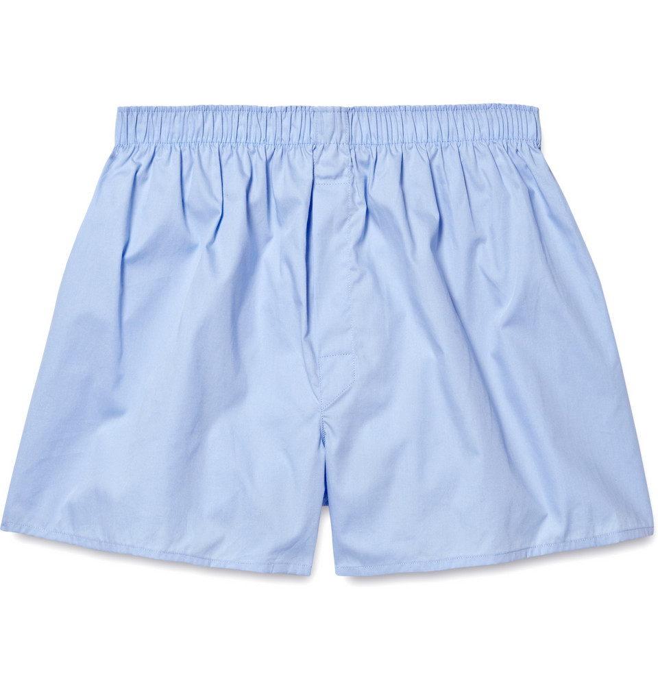 Cotton Boxer Shorts - Light blue