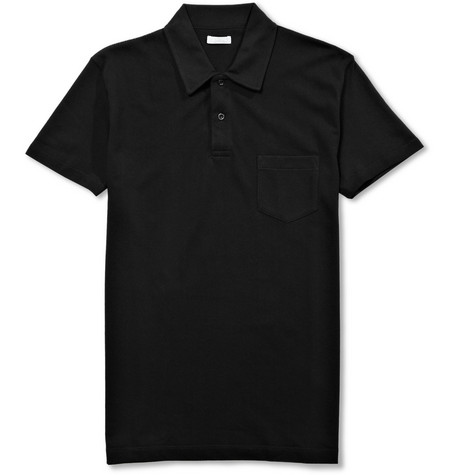 Riviera Slim-fit Cotton-mesh Polo Shirt - Black