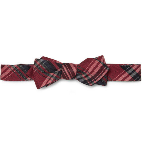 Alexander Olch Thrilby Plaid Woven-Wool Bow Tie