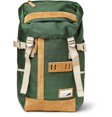 Master-Piece Over Suede-Trimmed Nylon Backpack