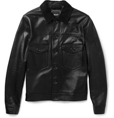 Todd Snyder Nubuck-Trimmed Leather Jacket