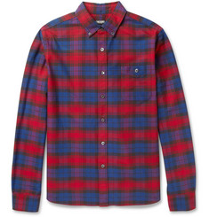 Todd Snyder Plaid Cotton Oxford Shirt