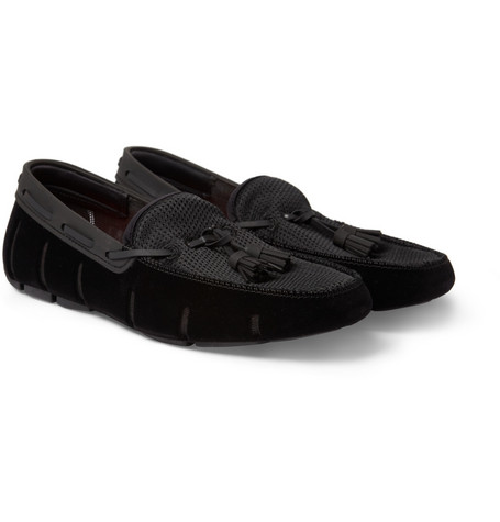 SWIMS Velvet-Trimmed Rubber Tassel Loafers