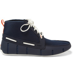 SWIMS Rubber and Mesh High-Top Boat Shoes