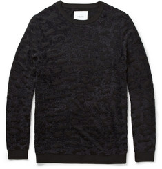 Sibling Slim-Fit Leopard-Jacquard Crew Neck Sweater