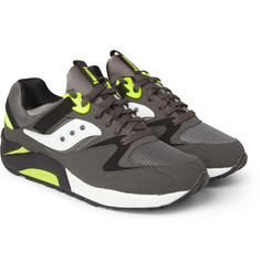 Saucony Grid 9000 Leather and Mesh Sneakers